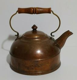 Vintage Revere Ware Copper Tea Kettle Wooden Handle Teapot R