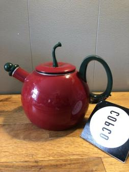 Vintage Copco Red Apple Whistling Enamel Metal Tea Pot Kettl