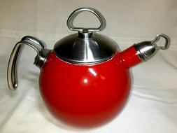 Vintage Retro CHANTAL Tea Kettle Red Enamel on Steel 1 1/2 Q