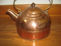 Vintage Revere Ware Solid Copper 2 Quart Tea Kettle New / Ol