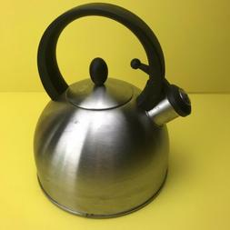 vintage whistling tea kettle teapot shiny stainless