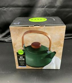 Vtg Copco Tea Kettle Legacy Model Green Enamel On Metal Wood