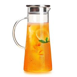 Stylish Glass Pitcher, 51 oz / 1500 ml with Stainless Steel