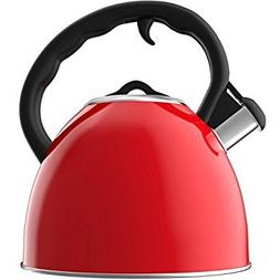 Vremi 2 quart Whistling Tea Kettle for Stovetop - Stainless