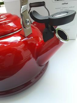 LE CREUSET  Whistling Tea Kettle 1.7 Quart Red Enameled NEW
