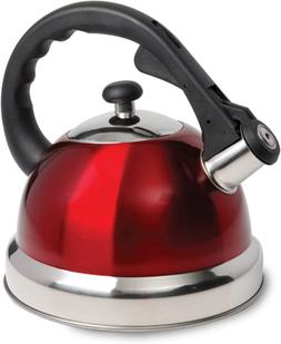 Whistling Tea Kettle 2.6-Quart Red Solid Stainless Steel Sta