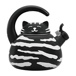 Gourmet Art Black Cat Enamel-on-Steel Whistling Kettle