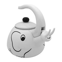 NEW Whistling Tea Kettle Enamel on Stainless Steel White Ele