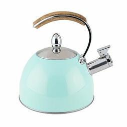 Whistling Tea Kettle, Light Blue Stainless Steel Stovetop Te