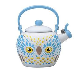 Gourmet Art Owl Enamel-on-Steel Whistling Kettle