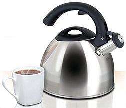 Whistling Tea Kettle Polished Stainless Steel Large 2.5 Quar