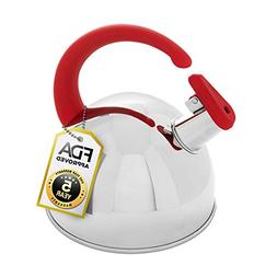 Whistling Tea Kettle, 304 Stainless Steel with Red Soft Touc
