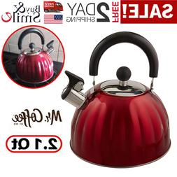 Whistling Tea Kettle Stainless Steel Stove Top Teapot Round