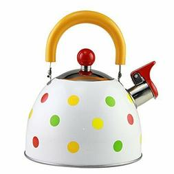 Whistling Tea Kettle Stainless Steel StoveTop Teapot Round S
