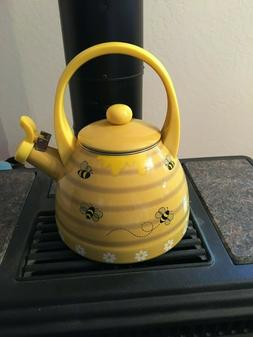 Supreme Housewares Whistling Tea Kettle, Yellow Bee Hive NEW