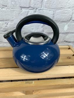 Circulon Whistling Tea Pot Kettle Navy Blue enamel 1.5 quart