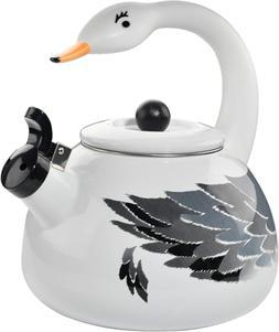 HOME-X White Swan Whistling Tea Kettle, Animal Teapot, Kitch